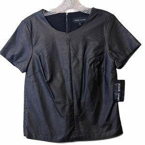 Black Rivet Medium Vegan Leather Back Zip Top M